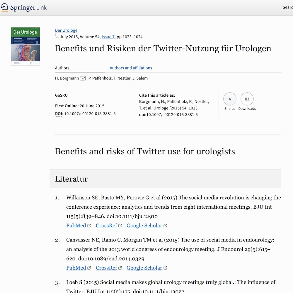 A healthcare social media research article published in Der Urologe A, June 19, 2015