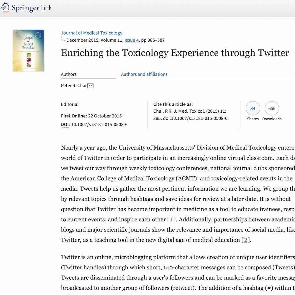 A healthcare social media research article published in Journal of Medical Toxicology, October 21, 2015