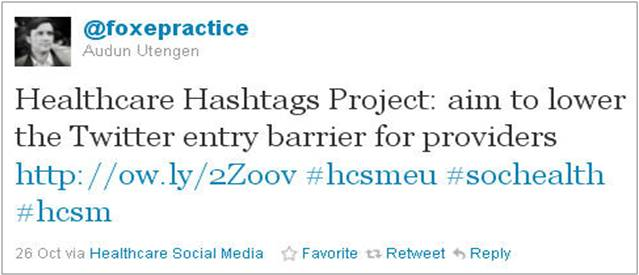 FoxePractice tweet from first day of healthcare hashtag project