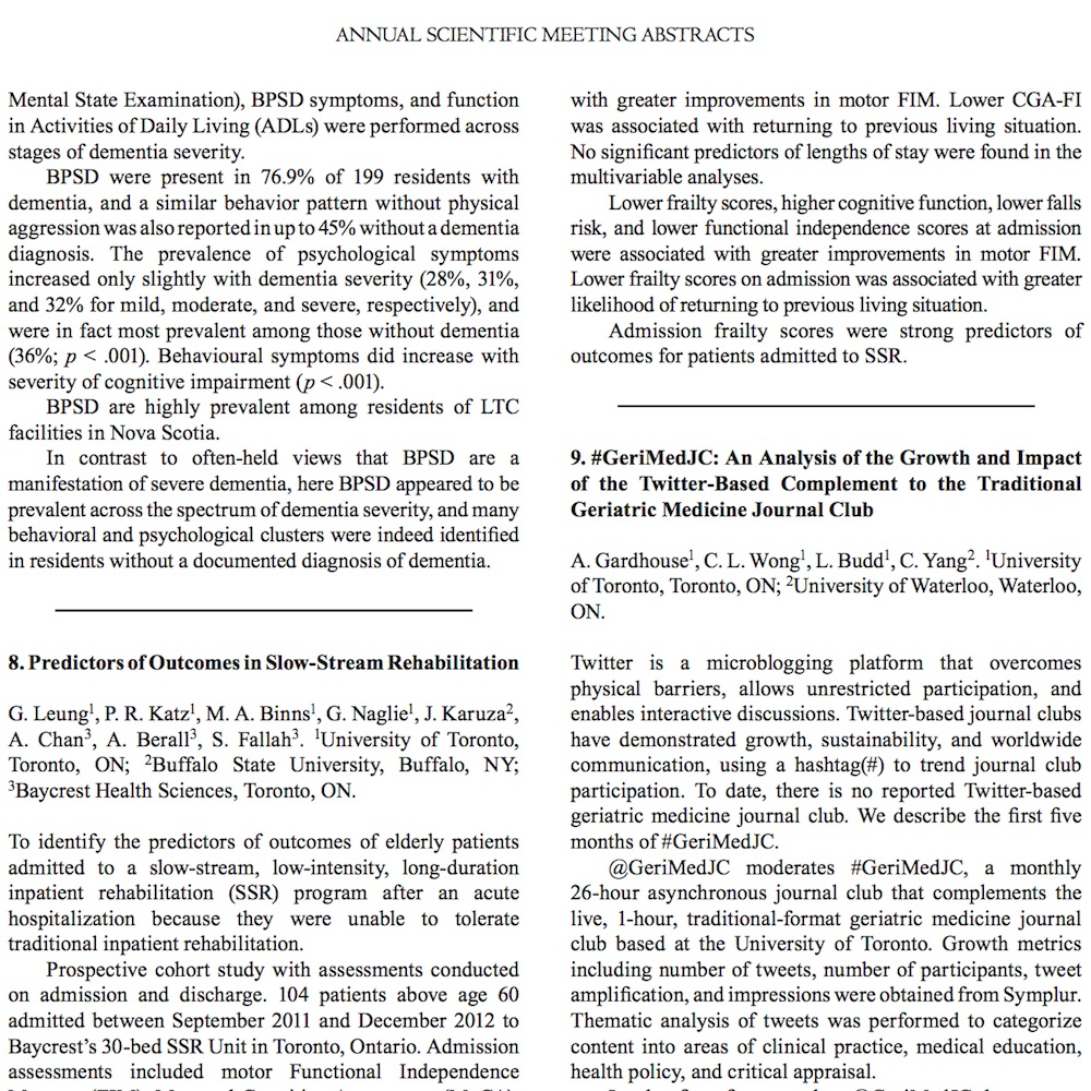 A healthcare social media research article published in Canadian Geriatrics Journal, 2015