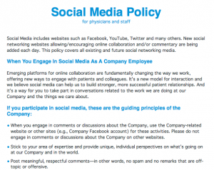 Healthcare social media policy for physicians and staff for Social media policy template for schools