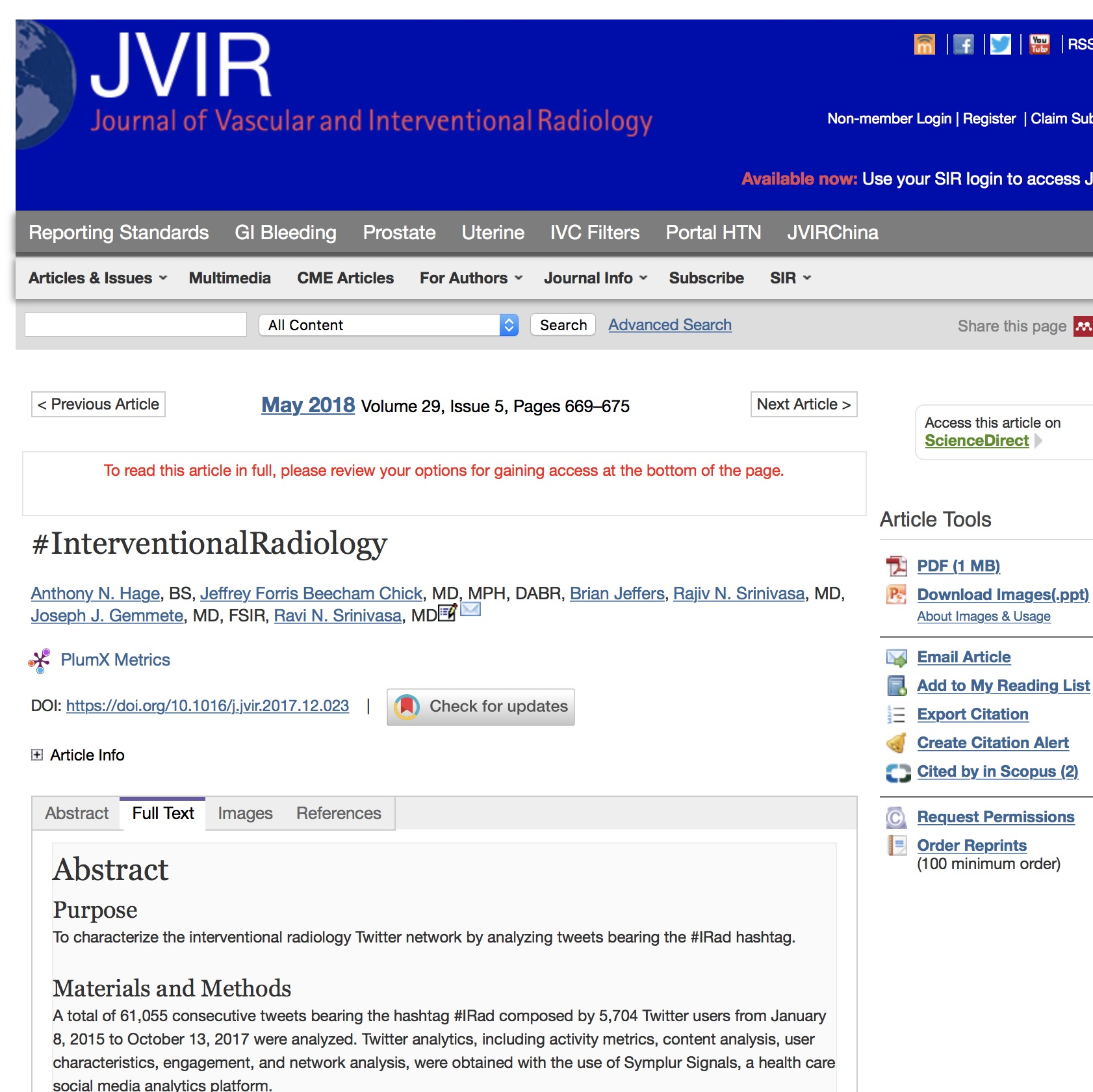 A healthcare social media research article published in Journal of Vascular and Interventional Radiology, April 30, 2018