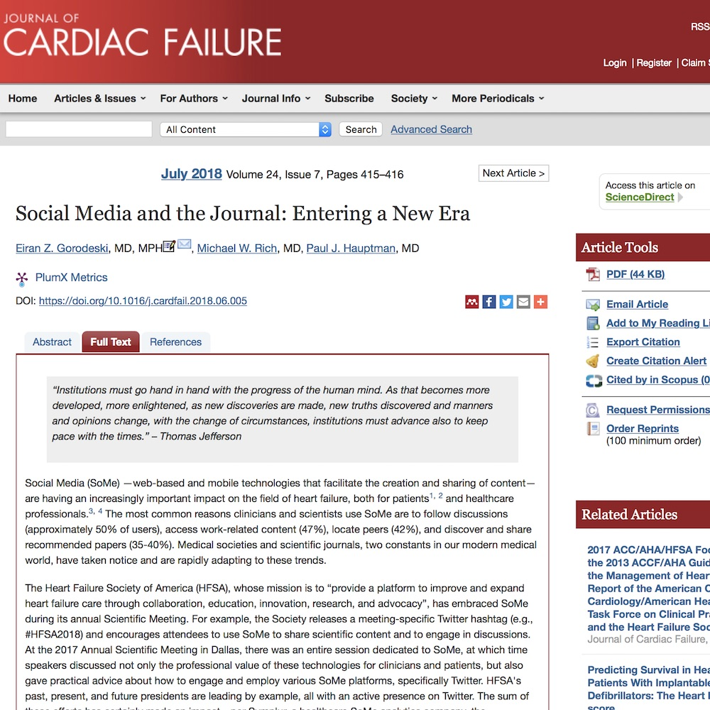 A healthcare social media research article published in Journal of Cardiac Failure, June 30, 2018