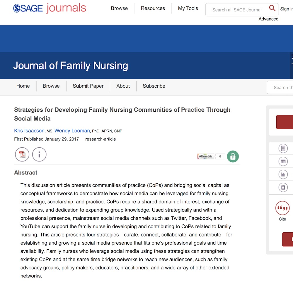 A healthcare social media research article published in Journal of Family Nursing, January 28, 2017