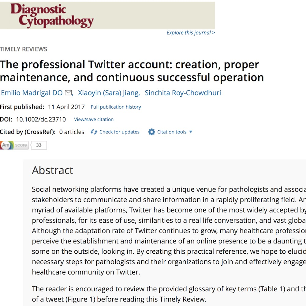 A healthcare social media research article published in Diagnostic Cytopathology, April 10, 2017