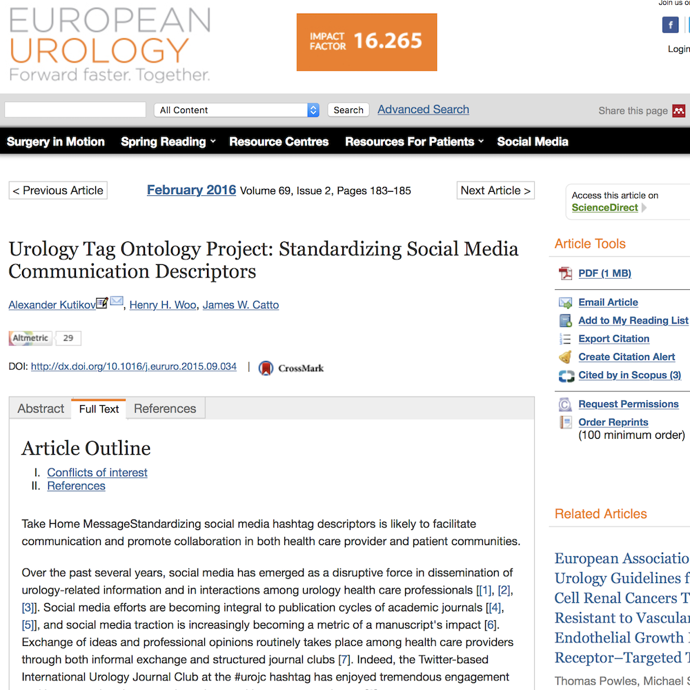 A healthcare social media research article published in European Urology, February 1, 2016