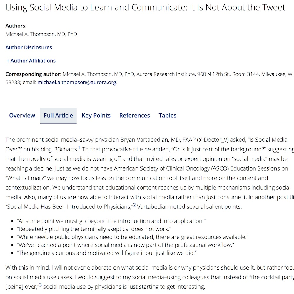 A healthcare social media research article published in ASCO Educational Book, April 30, 2015