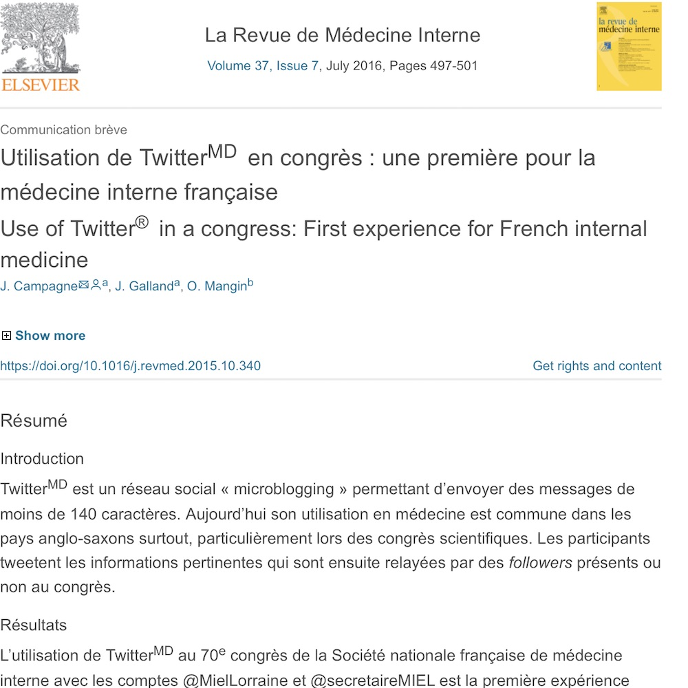A healthcare social media research article published in Revue de Medecine Interne, June 30, 2016