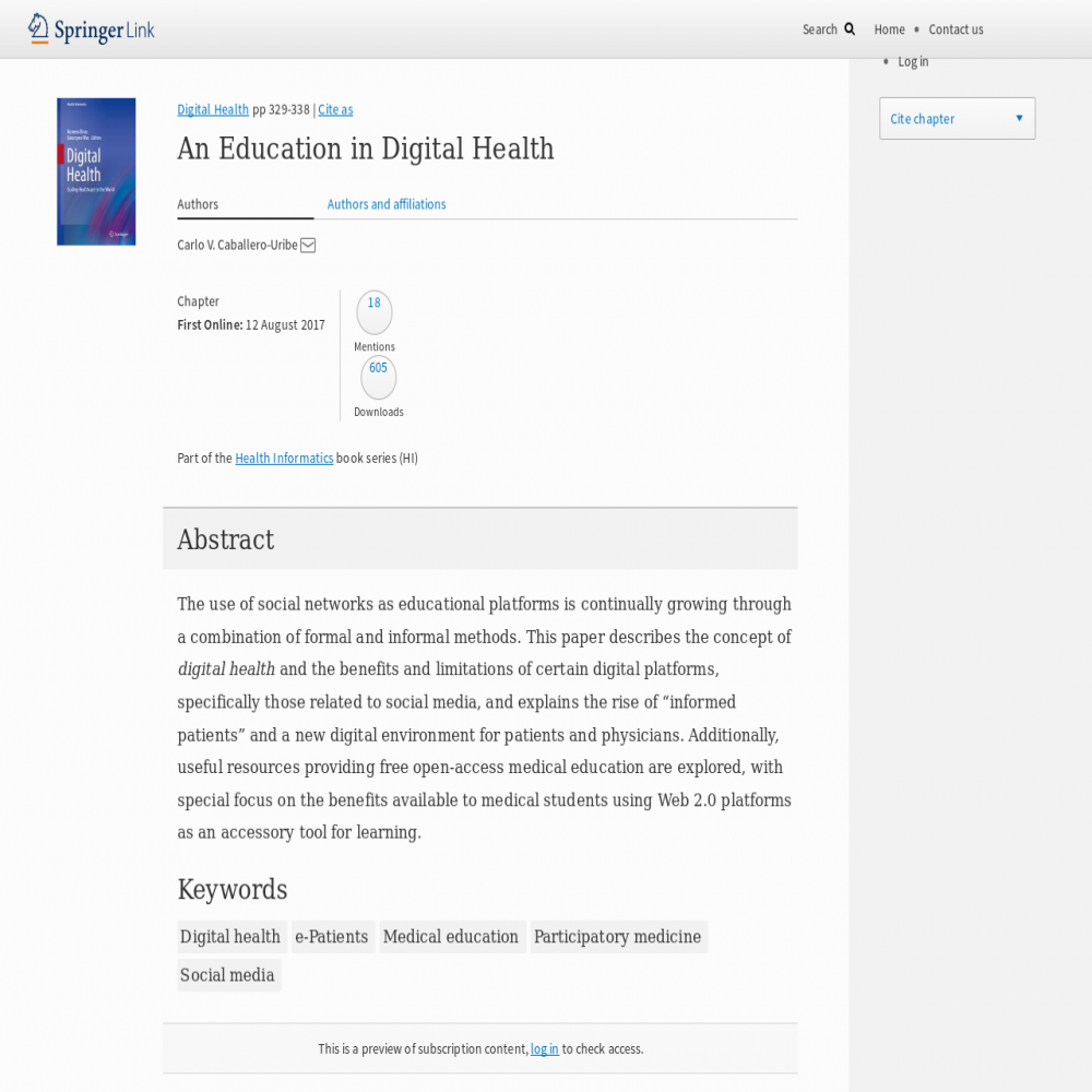 A healthcare social media research article published in Digital Health,