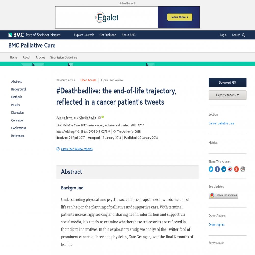 A healthcare social media research article published in BMC Palliative Care, January 21, 2018