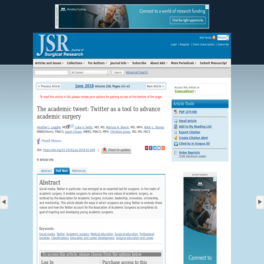 A healthcare social media research article published in Journal of Surgical Research, May 31, 2018