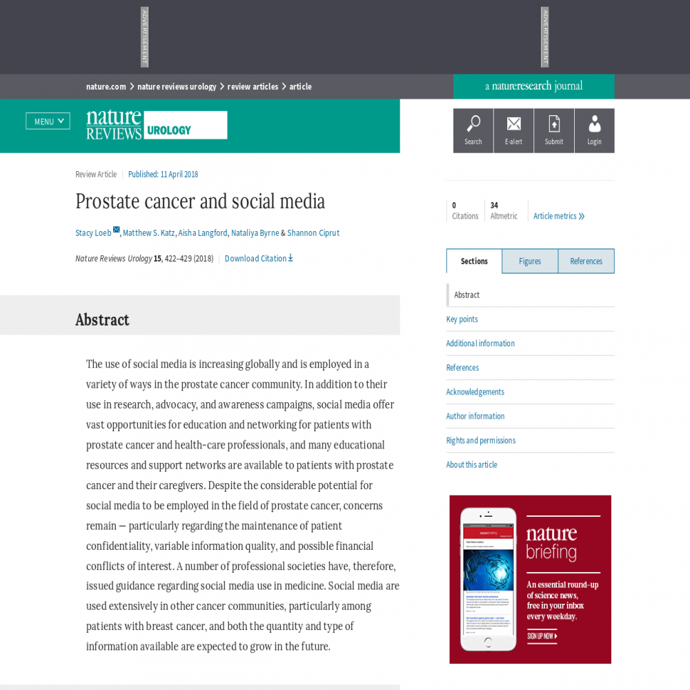 A healthcare social media research article published in Nature Reviews Urology, April 10, 2018