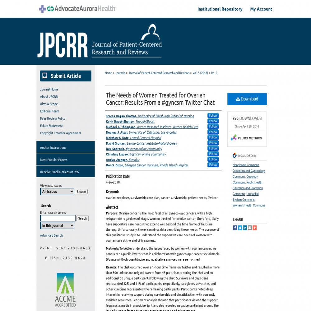 A healthcare social media research article published in Journal of Patient-Centered Research and Reviews, April 25, 2018
