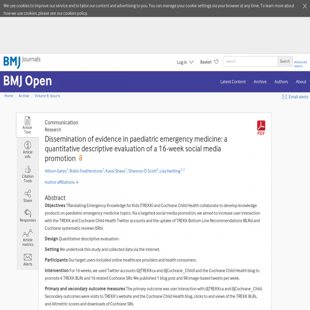 A healthcare social media research article published in BMJ Open, June 5, 2018