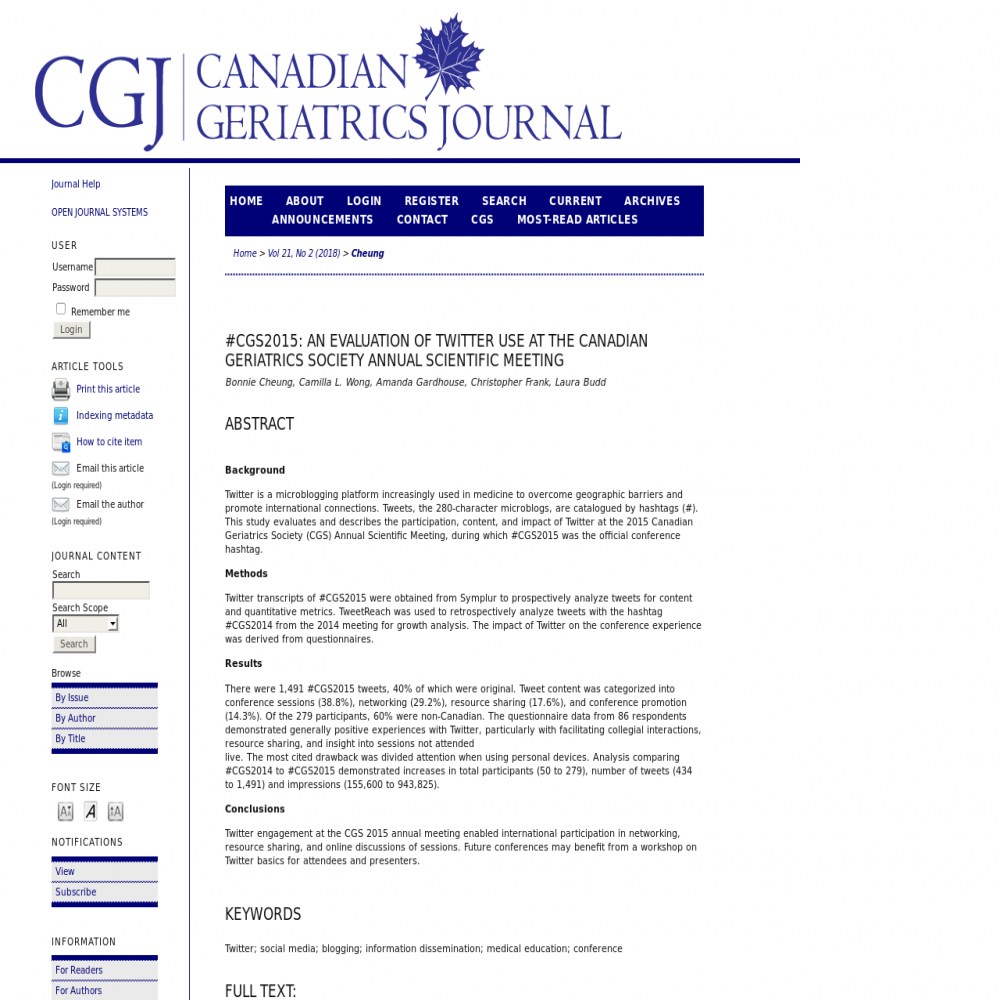 A healthcare social media research article published in Canadian geriatrics journal : CGJ, July 8, 2018