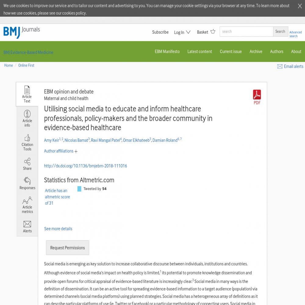 A healthcare social media research article published in BMJ Evidence-Based Medicine, July 26, 2018