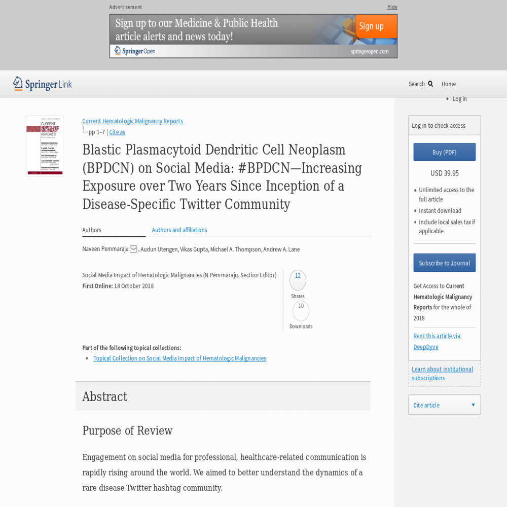 A healthcare social media research article published in Current Hematologic Malignancy Reports, October 17, 2018