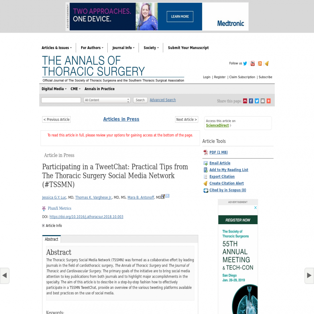 A healthcare social media research article published in The Annals of Thoracic Surgery, February 28, 2019