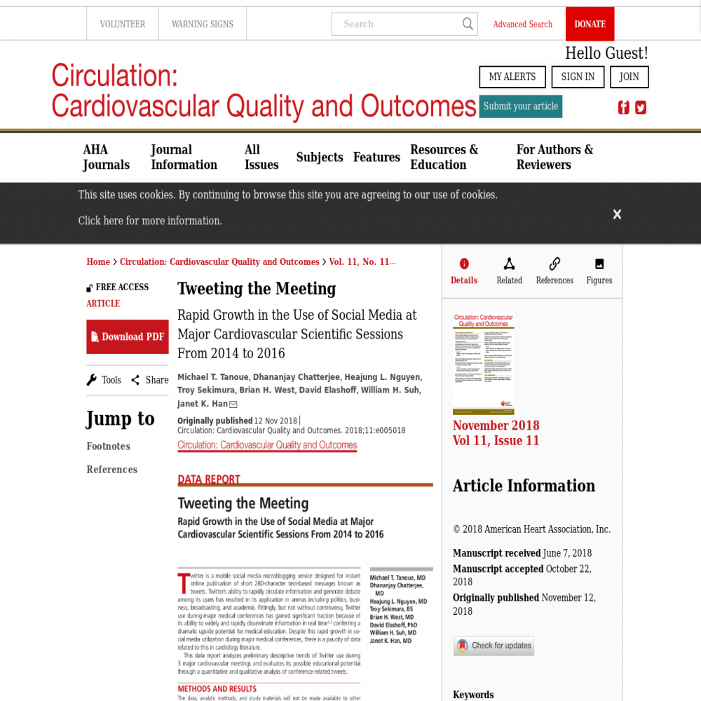A healthcare social media research article published in Circulation: Cardiovascular Quality & Outcomes, November 1, 2018