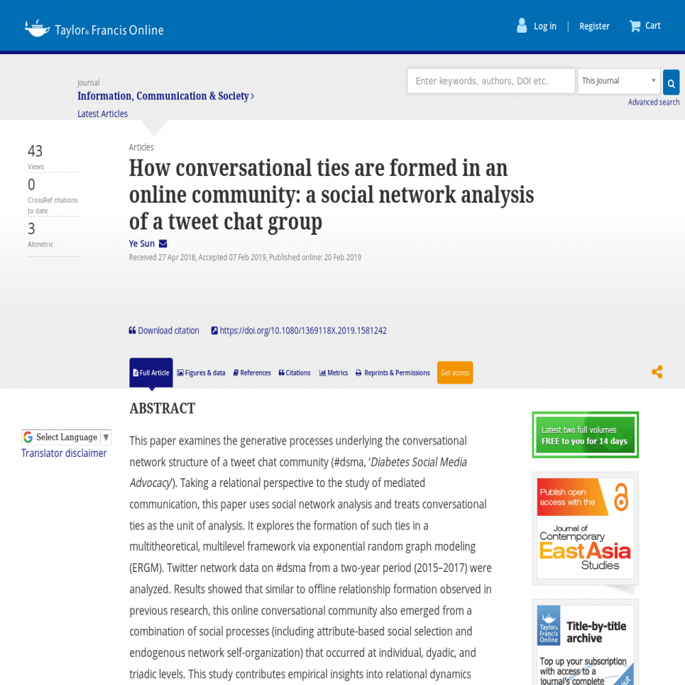 A healthcare social media research article published in Communication & Society, February 20, 2019