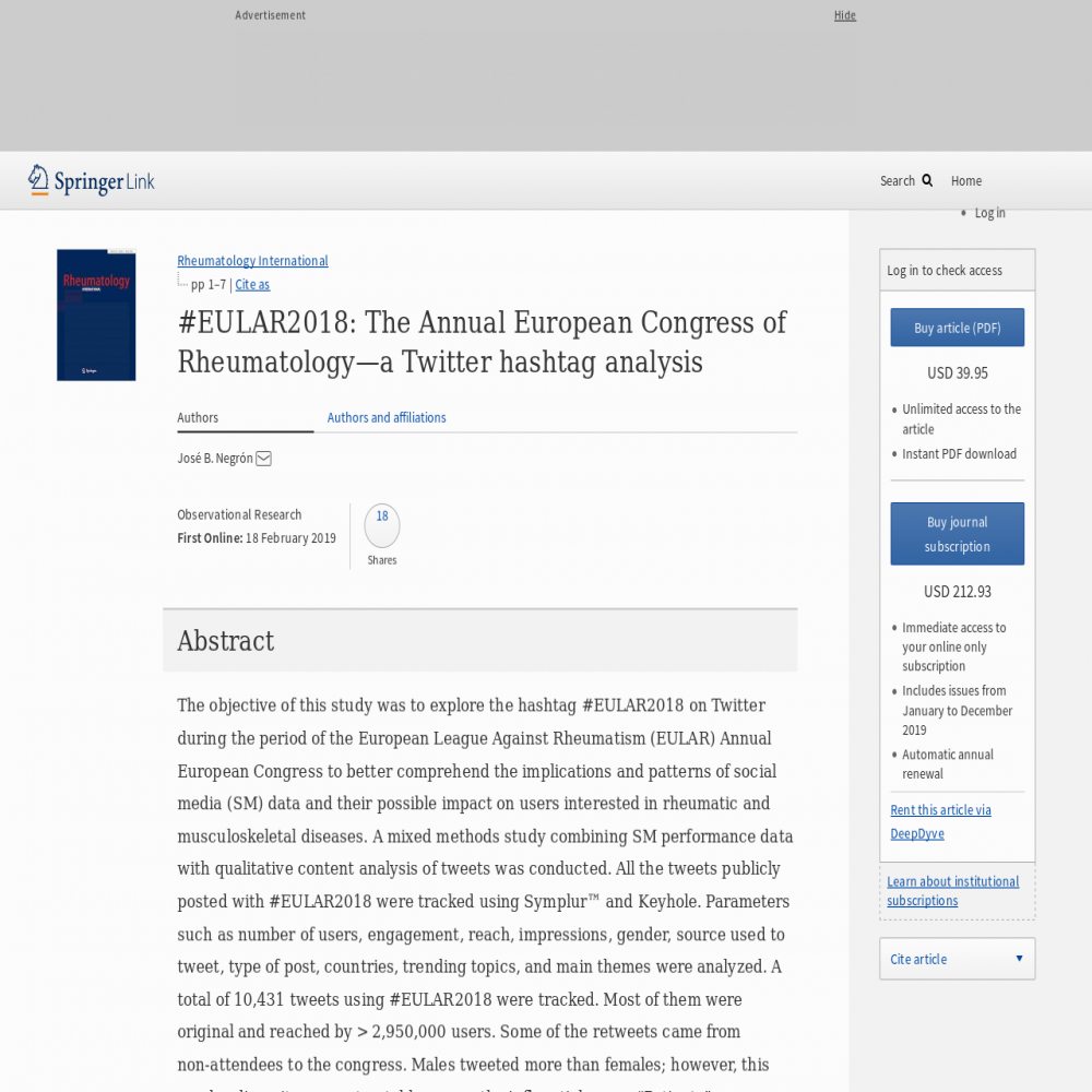 A healthcare social media research article published in Rheumatology International, February 17, 2019
