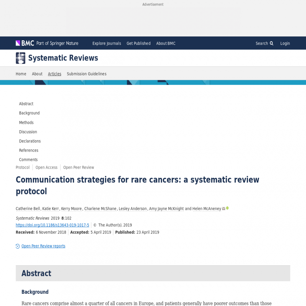 A healthcare social media research article published in Systematic Reviews, April 22, 2019