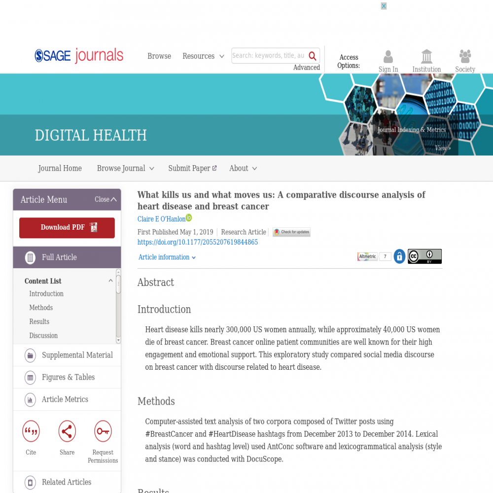 A healthcare social media research article published in Digital Health, April 30, 2019
