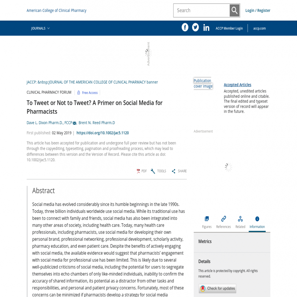A healthcare social media research article published in JACCP: JOURNAL OF THE AMERICAN COLLEGE OF CLINICAL PHARMACY, June 16, 2019