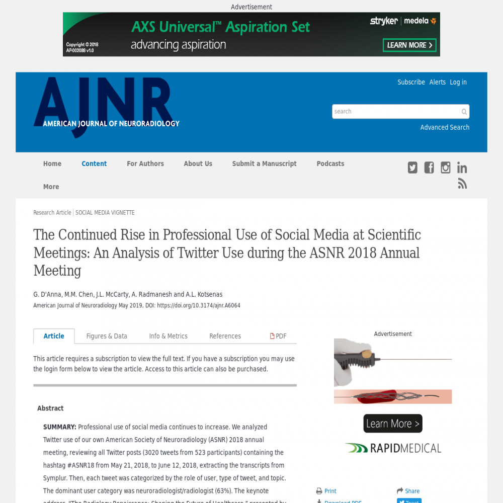 A healthcare social media research article published in American Journal of Neuroradiology, May 8, 2019