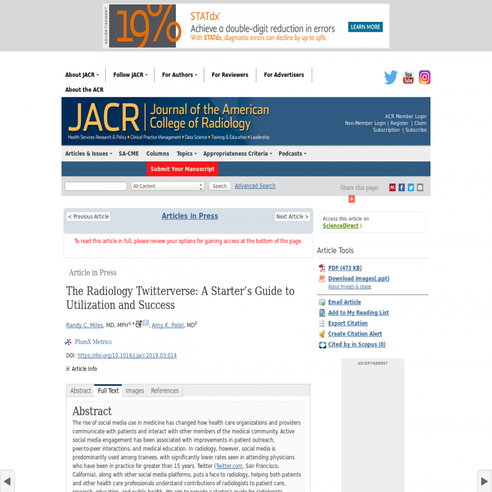 A healthcare social media research article published in Journal of the American College of Radiology, August 31, 2019
