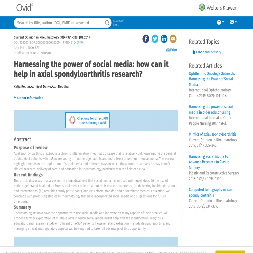 A healthcare social media research article published in Current opinion in rheumatology, June 30, 2019