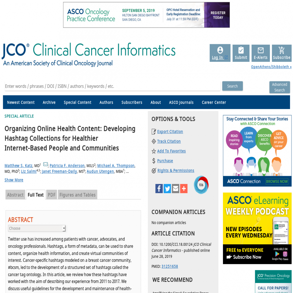 A healthcare social media research article published in JCO Clinical Cancer Informatics, October 31, 2019