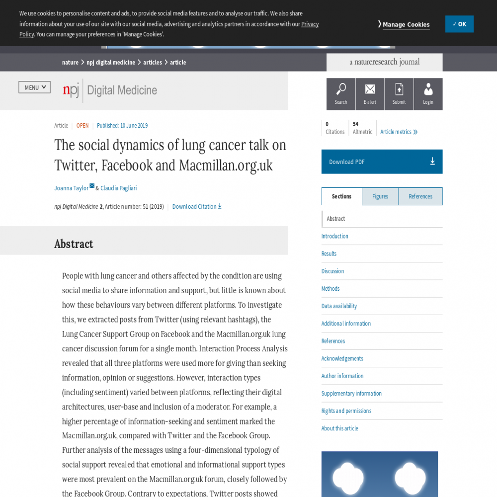 A healthcare social media research article published in npj Digital Medicine, June 9, 2019