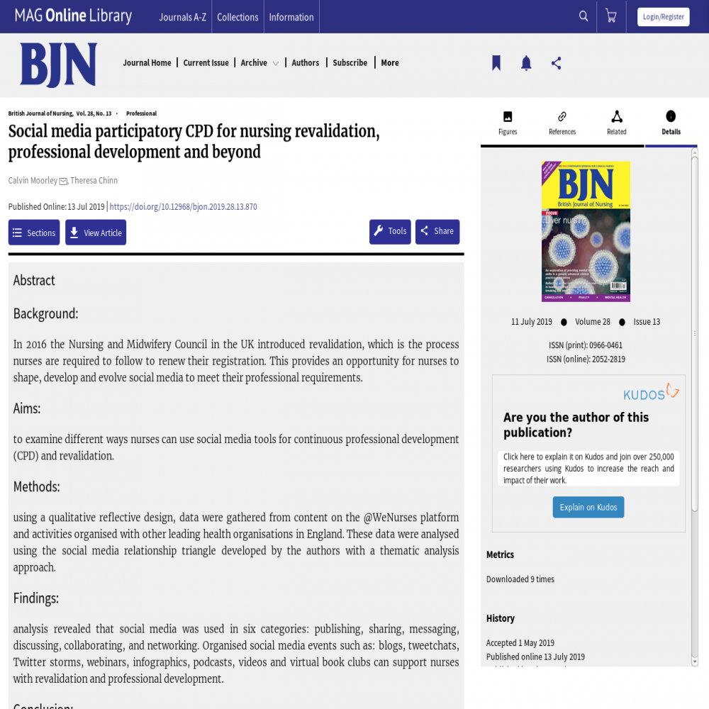 A healthcare social media research article published in British Journal of Nursing (BJN), July 10, 2019