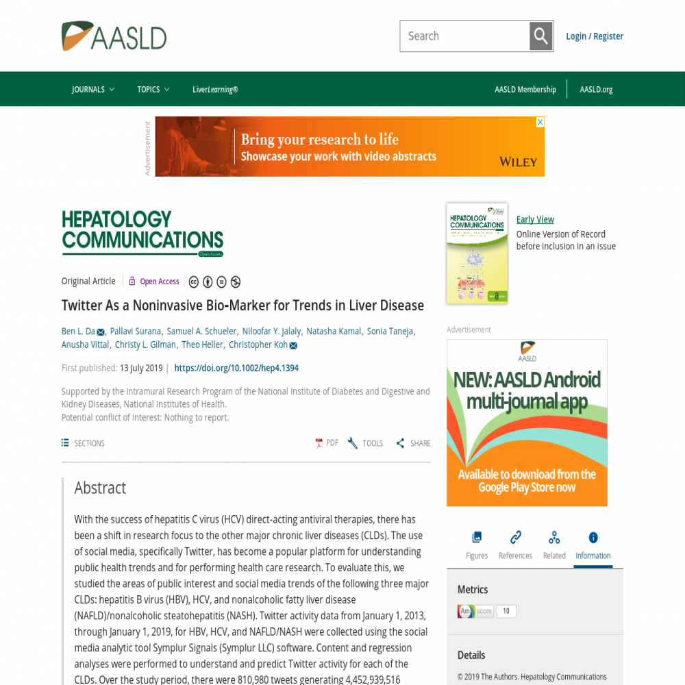 A healthcare social media research article published in HEPATOLOGY COMMUNICATIONS, July 12, 2019