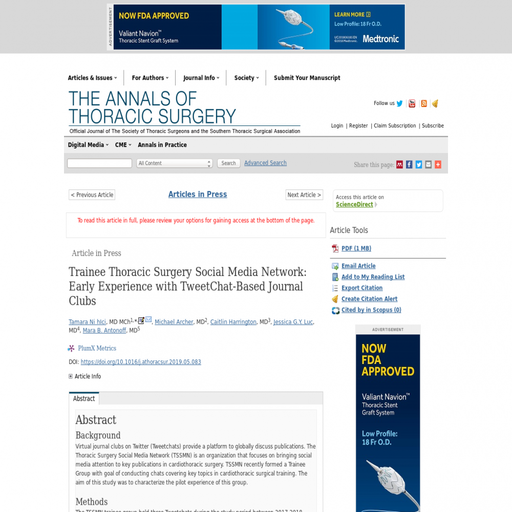 A healthcare social media research article published in The Annals of Thoracic Surgery, December 31, 2019