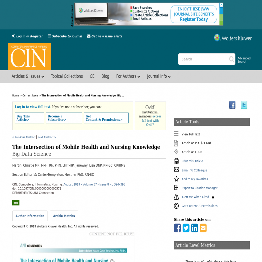 A healthcare social media research article published in Computers, July 31, 2019