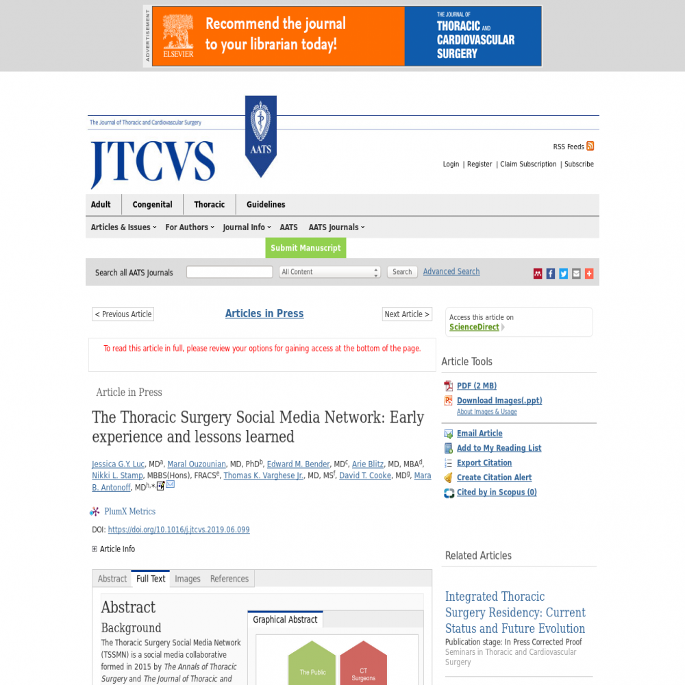 A healthcare social media research article published in Journal of Thoracic and Cardiovascular Surgery, July 31, 2019
