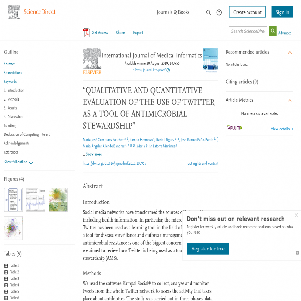 A healthcare social media research article published in International Journal of Medical Informatics, October 31, 2019