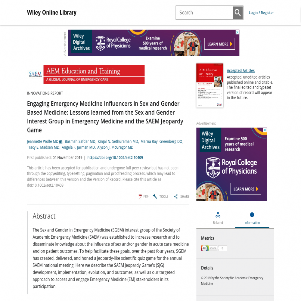A healthcare social media research article published in AEM Education and Training: A Global Journal of Emergency Care, November 30, 2019