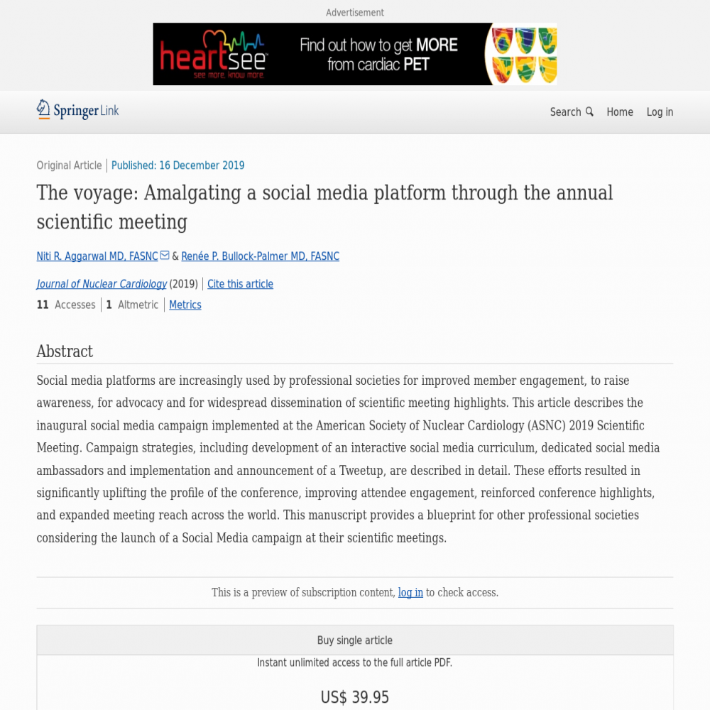 A healthcare social media research article published in Journal of Nuclear Cardiology, December 15, 2019