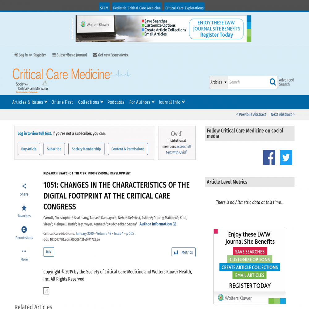 A healthcare social media research article published in Critical Care Medicine, December 31, 2019