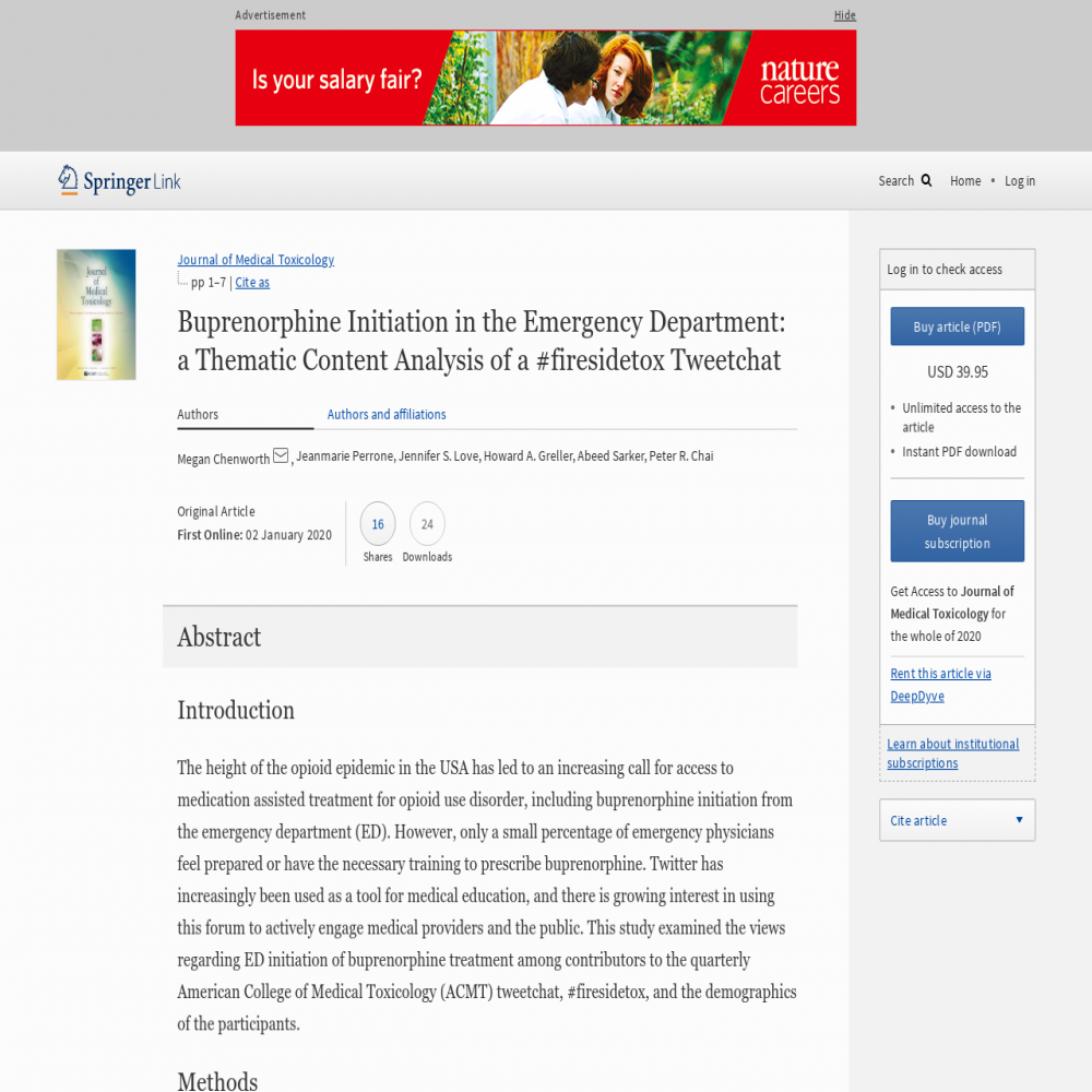 A healthcare social media research article published in Journal of Medical Toxicology, January 1, 2020