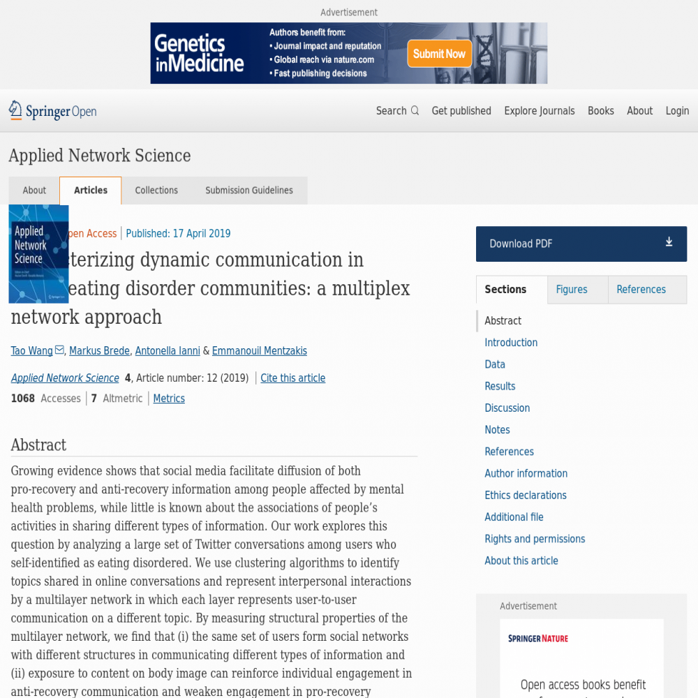 A healthcare social media research article published in Applied Network Science, April 16, 2019