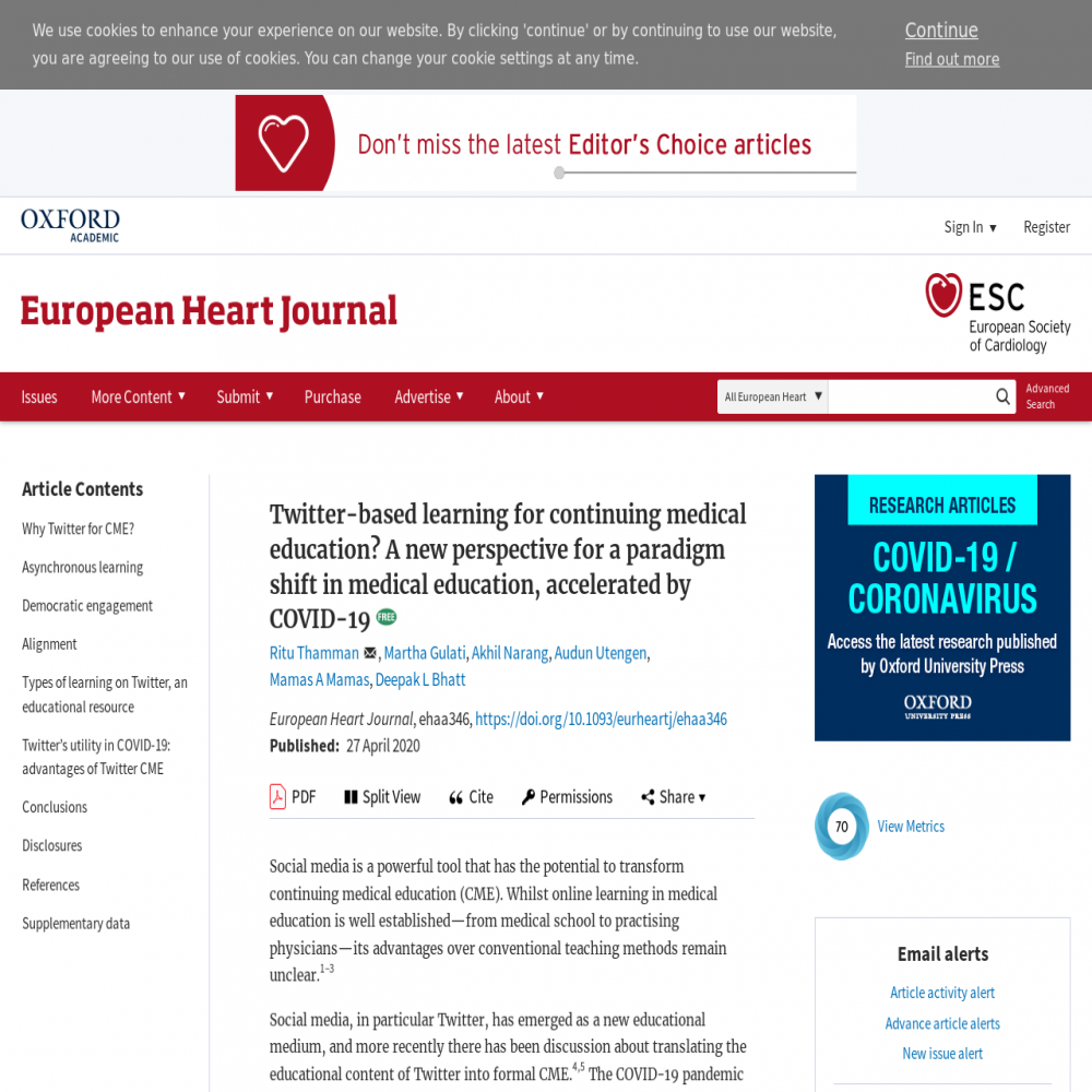 A healthcare social media research article published in European Heart Journal, April 26, 2020