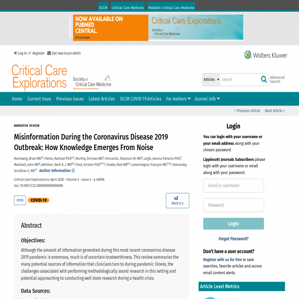 A healthcare social media research article published in Critical Care Explorations, March 31, 2020