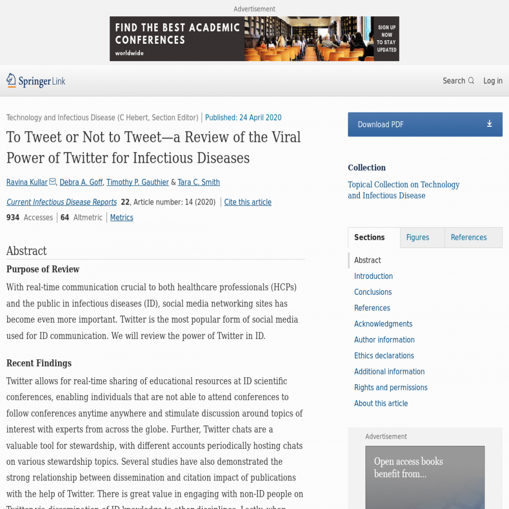 A healthcare social media research article published in Current Infectious Disease Reports, April 23, 2020