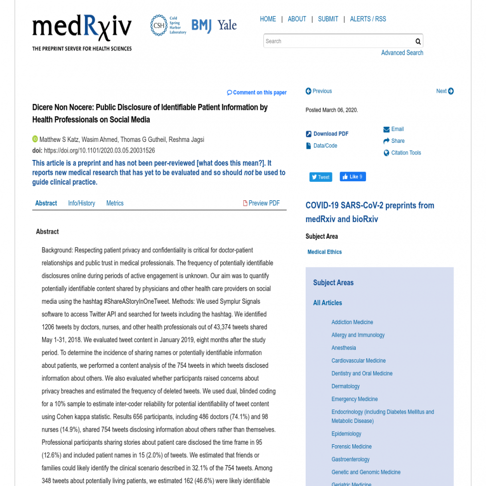 A healthcare social media research article published in medRxiv, March 5, 2020