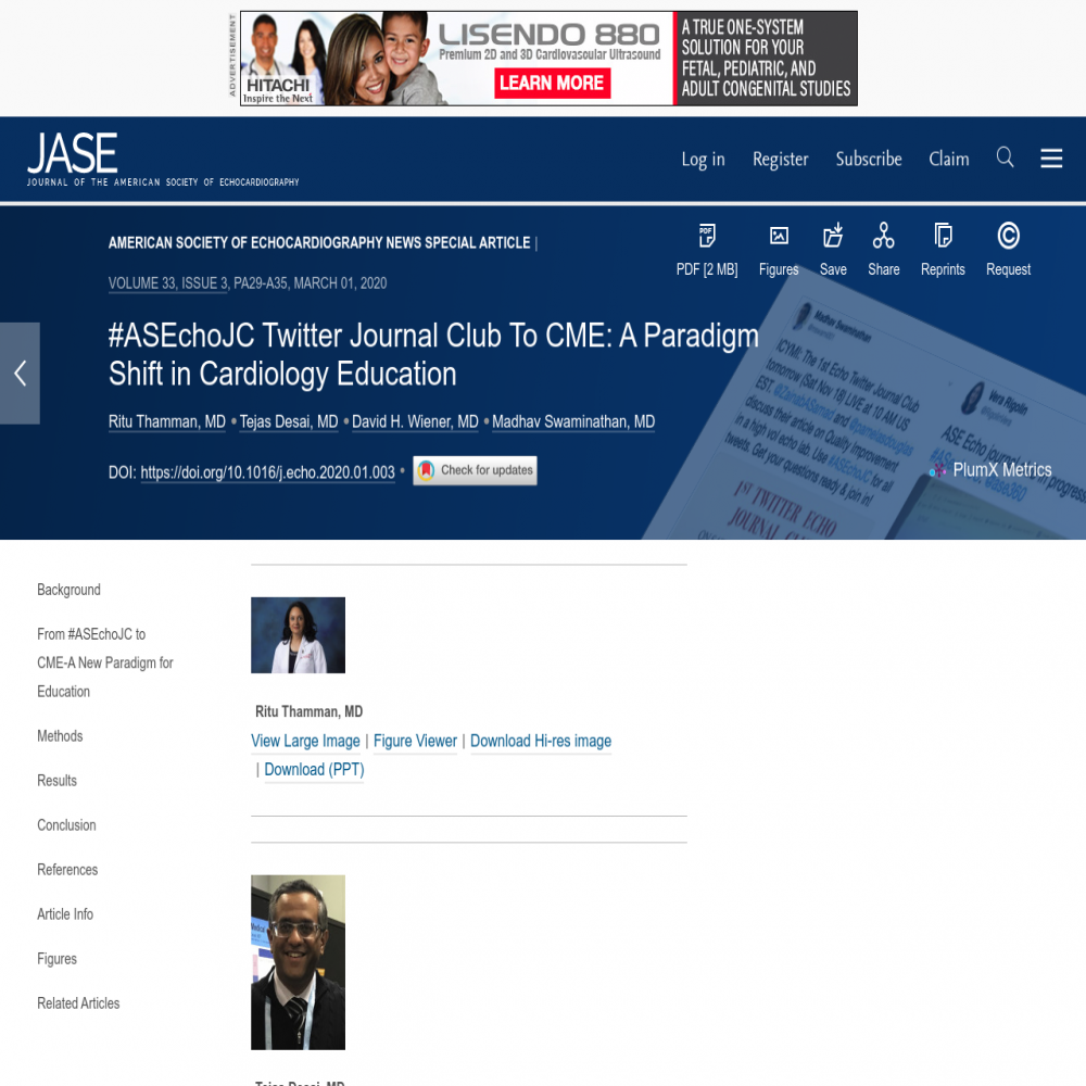 A healthcare social media research article published in Journal of the American Society of Echocardiography (Online), February 29, 2020