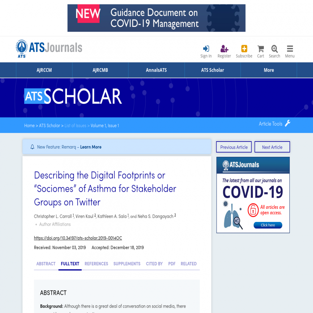 A healthcare social media research article published in ATS Scholar, February 29, 2020